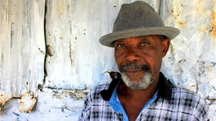 Tailor and community leader Etienne Joseph, 64, is one of 45,000 living in La Piste JMV (Jean-Marie Vincent) camp in Port-au-Prince, a makeshift tent city made of tarpaulin and plywood.