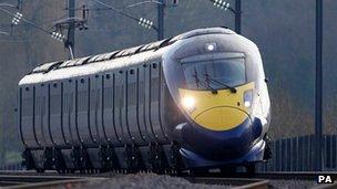 Hitachi Class 395 Javelin train as it passes through Ashford, Kent, using the HS1 Channel Tunnel Rail Link