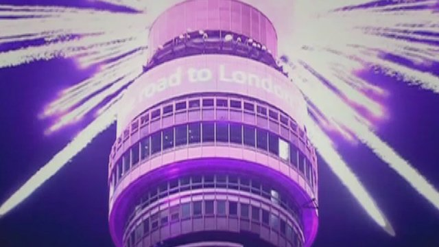 A still image of BT Tower as part of an ad campaign promoting Britain around the world