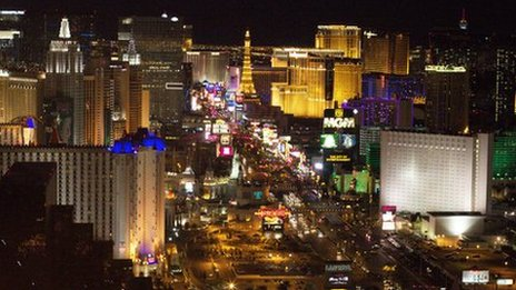A night-time view of Las Vegas