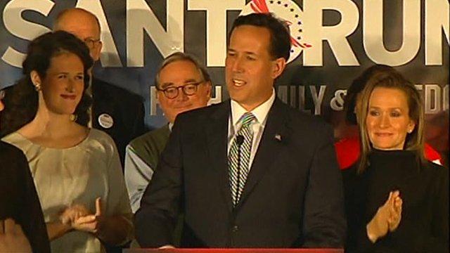 Rick Santorum speaks to supporters in New Hampshire.