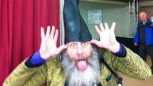 Vermin Supreme at the BBC workspace in Manchester, New Hampshire 10 January 1012 
