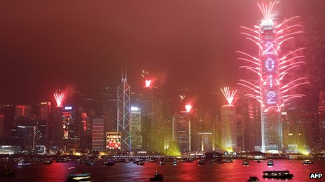 Hong Kong's skyline lit up by fireworks
