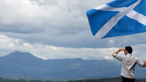 Man with Scottish flag