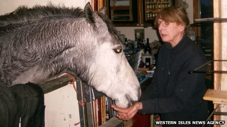Stephanie Noble and her pony. Pic: Western Isles News Agency