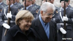 German Chancellor Angela Merkel welcomes Italian PM Mario Monti to Berlin (11 Jan 2012)