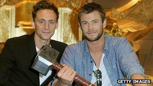 Tom Hiddleston and Chris Hemsworth