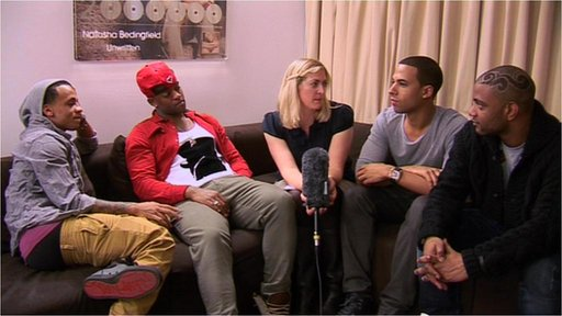 Pop ground JLS share top interviewing tips with BBC showbiz reporter Natalie Jamieson