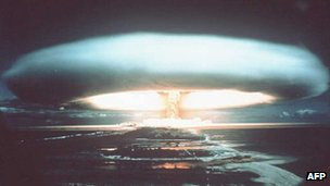 Mushroom cloud generated by nuclear test