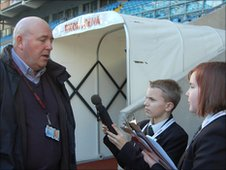 The School Reporters interview officials at the Ricoh Arena