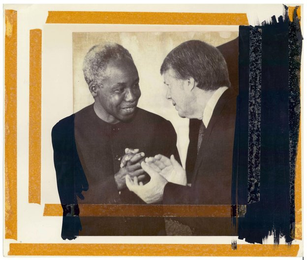 US President Carter chats with Tanzanian President Julius Nyerere at the White House
