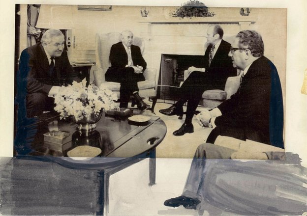 James Callaghan, Harold Wilson, Gerald Ford and Henry Kissinger