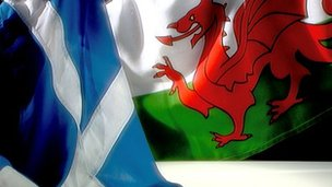 Generic images of Scotland and Wales flags