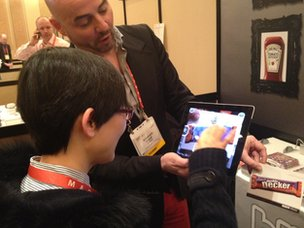 Blippar is demoed on an iPad at CES