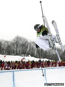 Sarah Burke competes during the 2008 Freestyle FIS World Cup Inawashiro,  Japan 15 February 2008