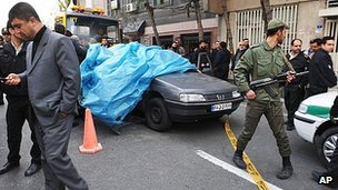 Wreck of blown up car in Tehran. 11 Jan 2012