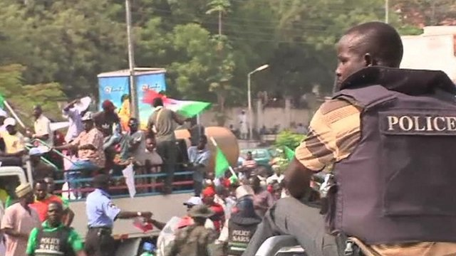 A police man in Nigeria at the fuel protest.