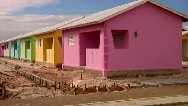Newly built homes in Haiti