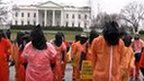 Protesters demanding the closure of Guantanamo