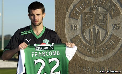 George Francomb shows off his new Hibs shirt