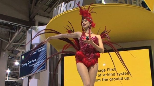 A &quot;booth babe&quot; at CES