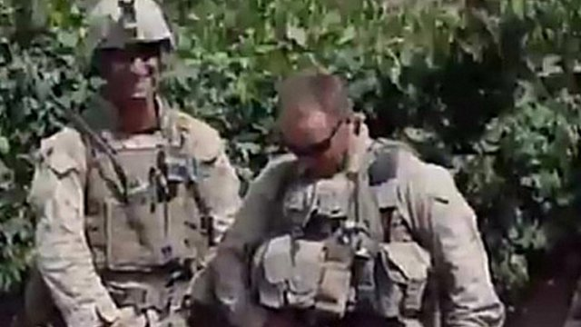 Still from video allegedly showing US Marines urinating on Afghan corpses