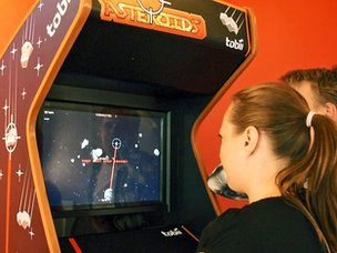 Asteroids being played using eye gestures