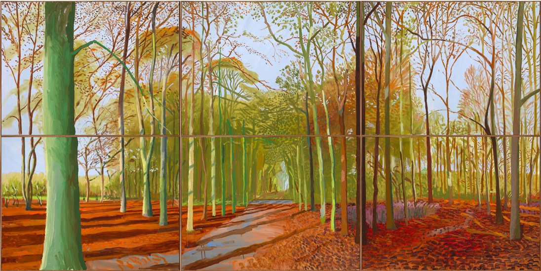 Bbc news in pictures david hockney at the royal academy for Artistic mural works