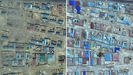 Satellite images of Garowe - February 2002 (l) June 2009 (r)