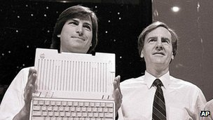 Steve Jobs and John Sculley unveil the Macintosh in 1984.