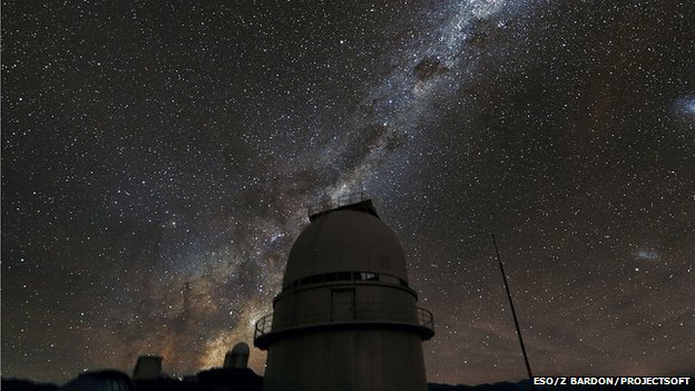 The Milky Way above the dome of the Danish 1.54-metre telescope at ESO's La Silla Observatory in Chile (ESO/Z Bardon/Projectsoft)