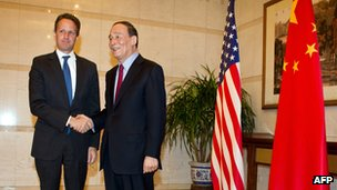 US Treasury Secretary Timothy Geithner with Chinese Vice Premier Wang Qishan