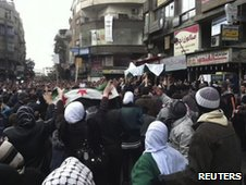 Anti-government protesters in Damascus