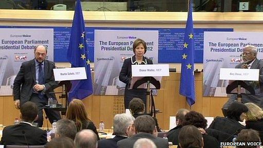 (L-R) Martin Schulz, Diana Wallis, Nirj Deva