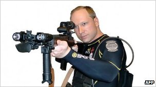 Anders Behring Breivik poses with a rifle in an undated image made before the 22 July 2011 attacks