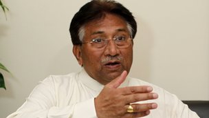 Former Pakistani president Pervez Musharraf speaks during an interview with Reuters in Dubai 8 January 2012
