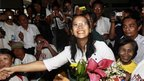 Activist Nilar Thein, part of 1988 protest movement, freed in Rangoon (13 January 2011)