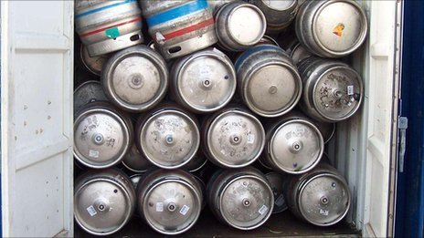 The seized beer kegs