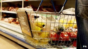 Fruit and vegetables in a shopping basket