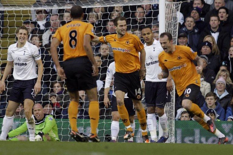 Steven Fletcher (right) celebrates scoring for Wolves at White Hart Lane
