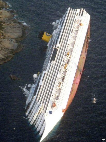 Aerial shot of capsized cruise ship