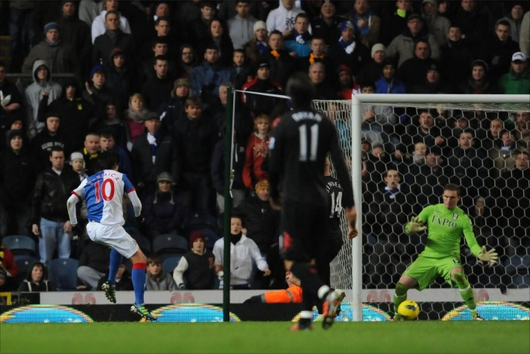 Blackburn Rovers Mauro Formica scores his side's third goal of the game