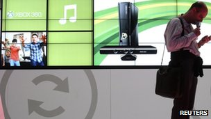 Microsoft CES stand shows promotional video for its Kinect peripheral