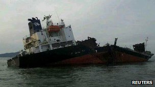 The damaged South Korean ship. Photo: 15 January 2012