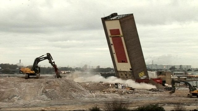 Campbell's soup tower demolished with controlled explosion