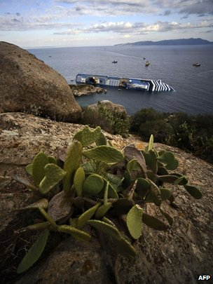 View of the Costa Concordia ship off the Isola del Giglio, Italy