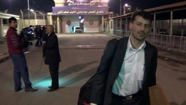 Syrian man leaving prison in Damascus
