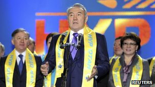 President Nursultan Nazarbayev delivers a speech during a rally held by activists and supporters of the ruling party in Astana, 16 January 2012