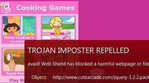 Trojan warning on cutearcade.com website