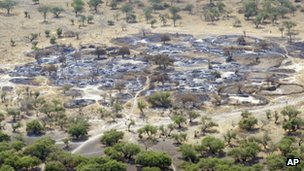 In this photo taken Saturday, 7 January, 2012 and released by the United Nations Mission in South Sudan (Unmiss), the burned village of Fertait is seen from the air, in Jonglei State, eastern South Sudan.